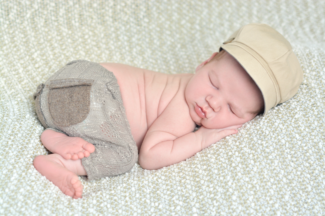 Newborn Boy with a hat and pants