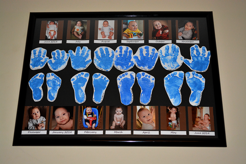 Photos, Handprints and Footprints for One Year